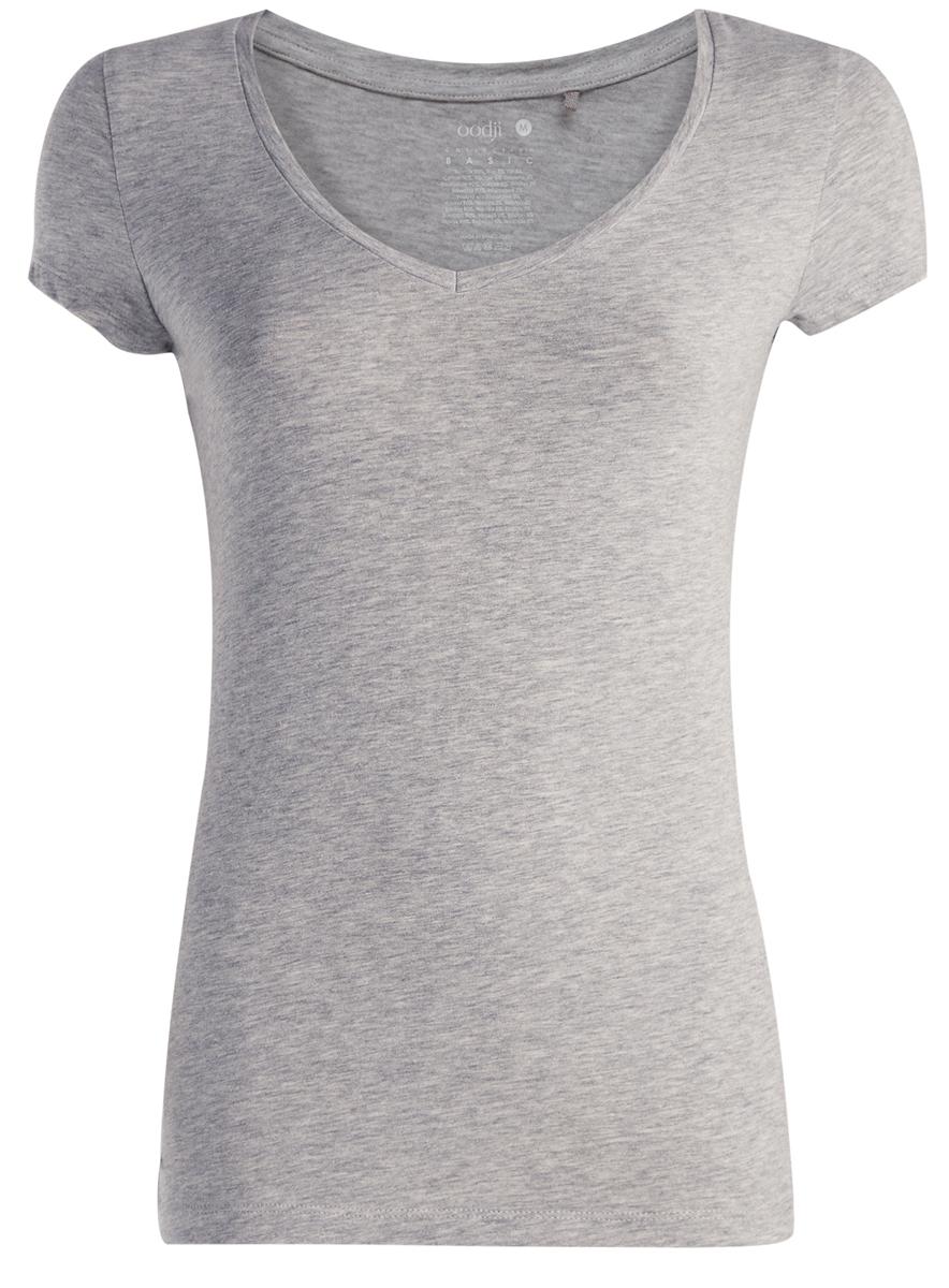 Футболка женская oodji Collection, цвет: светло-серый меланж. 24701002-4/45821/2000M. Размер XS (42)