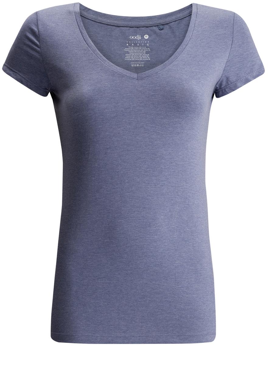 Футболка женская oodji Collection, цвет: синий меланж. 24701002-2/42479/7500M. Размер XS (42) футболка женская oodji collection цвет белый 24711002 46840 1000n размер xs 42