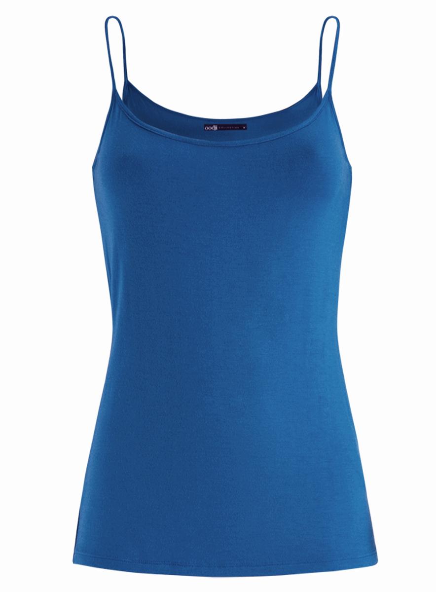 Майка женская oodji Collection, цвет: голубой. 24306001/46223/7500N. Размер XS (42) майка женская oodji collection цвет изумрудный 24305006b 46164 6d00n размер l 48