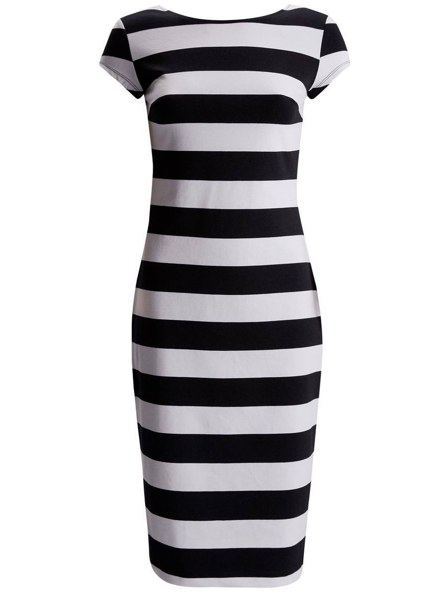 Платье oodji Collection, цвет: черный, белый. 24001104-1/35477/1079S. Размер L (48) платье oodji collection цвет черный бордовый 24001114 1m 37809 2949e размер l 48