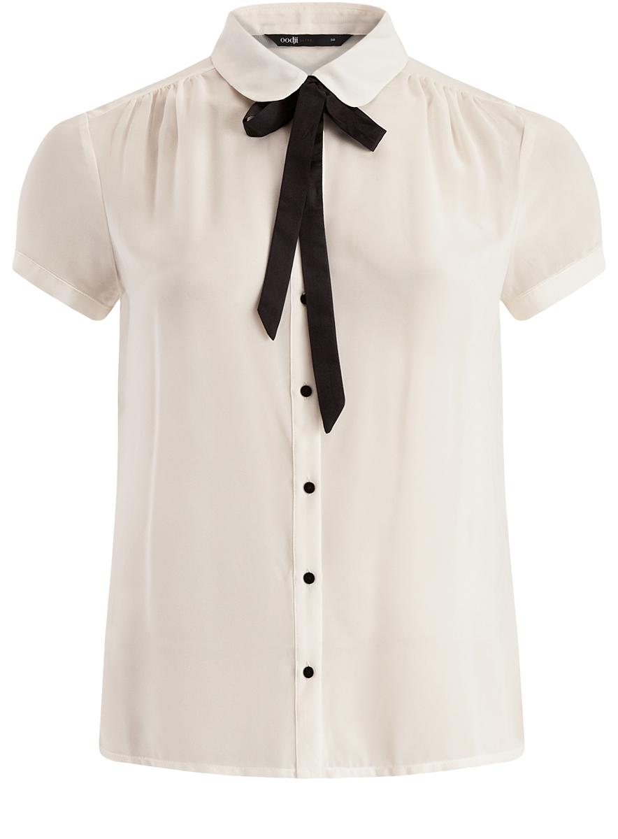 Блузка женская oodji Ultra, цвет: белый. 11403202-1/19538/1200N. Размер 40 (46-170) блузка женская oodji ultra цвет белый 11411062 1 43291 1200n размер 36 170 42 170