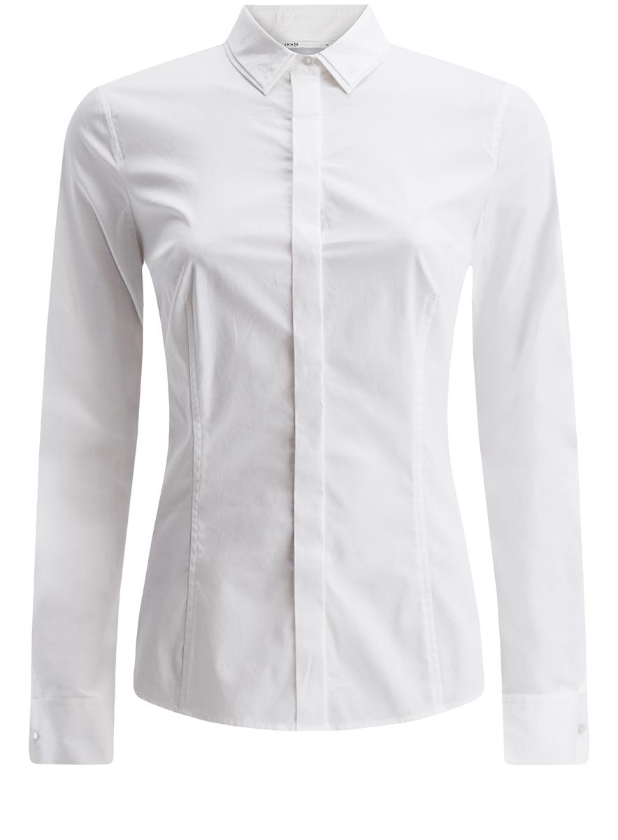 Рубашка женская oodji Collection, цвет: белый. 21422003/26357/1000N. Размер 44 (50-170)