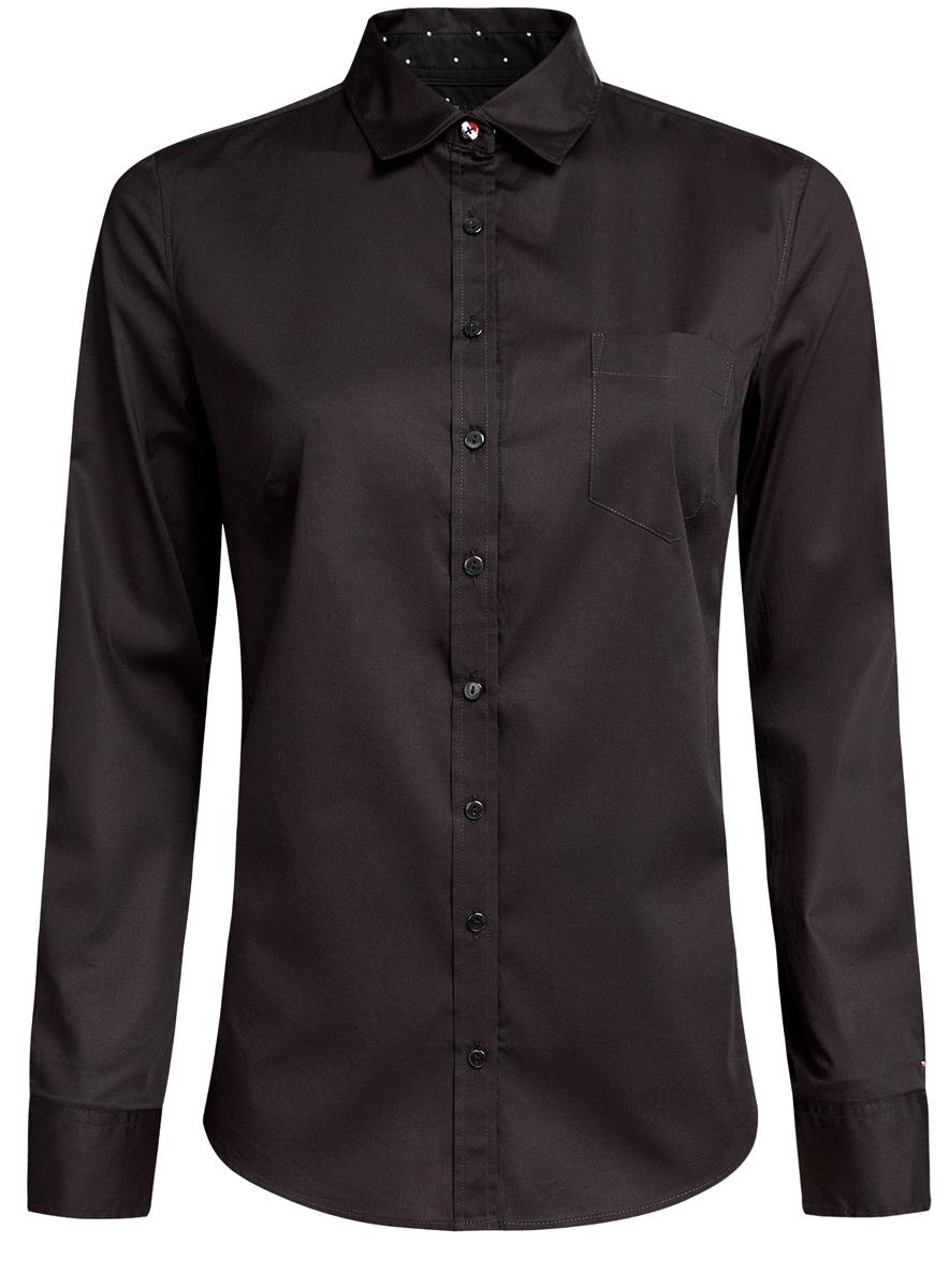 Блузка женская oodji, цвет: черный. 11403205-7/26357/2900N. Размер 42 (48-170)