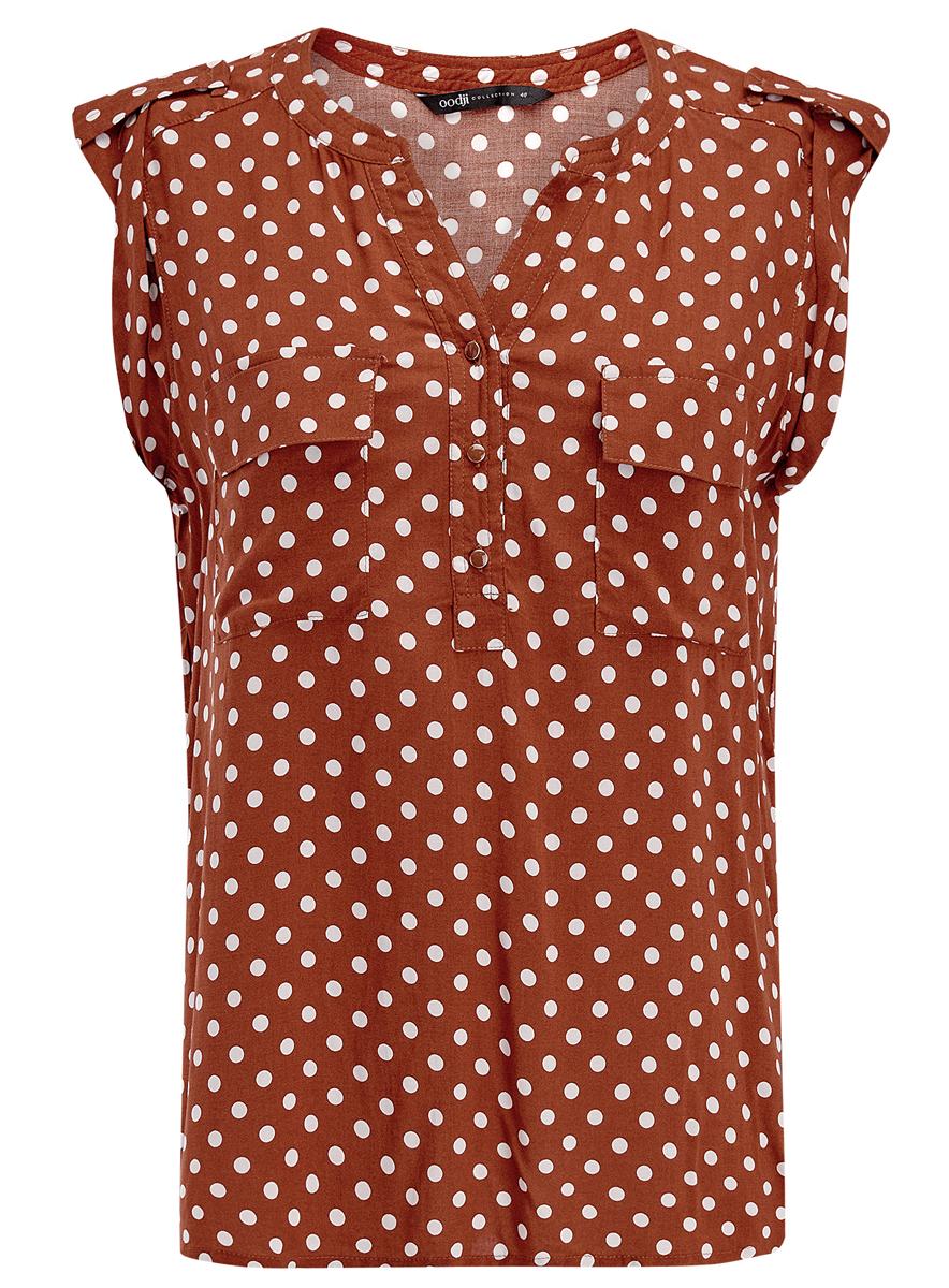 Блузка женская oodji Collection, цвет: коричневый. 21412132/24681/3912D. Размер 42 (48-170)21412132/24681/3912DЖенская блузка oodji Ultra без рукавов имеет свободный крой, два кармана на груди и V-образный вырез воротника, застегивающийся на три пуговицы спереди.