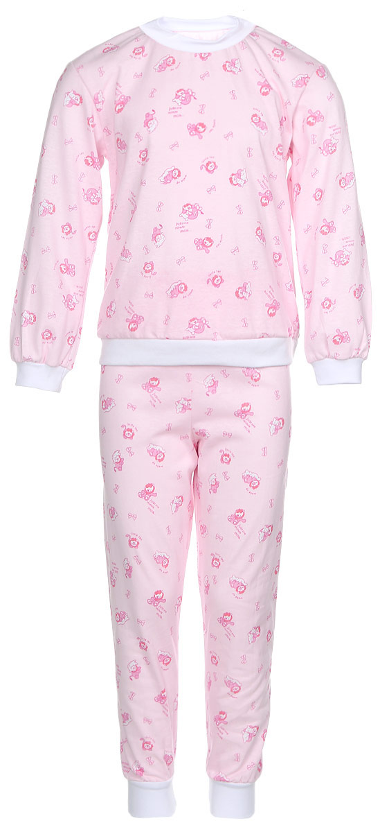 Пижама детская Фреш Стайл, цвет: светло-розовый. 10-5872. Размер 11010-5872Уютная детская пижама Фреш Стайл выполнена из натурального хлопка.Футболка с длинными рукавами имеет круглый вырез горловины, оформленный трикотажной резинкой. На рукавах предусмотрены мягкие манжеты. Низ изделия дополнен широкой трикотажной резинкой.Брюки имеют эластичный пояс. Брючины дополнены манжетами.Пижама оформлена принтом.