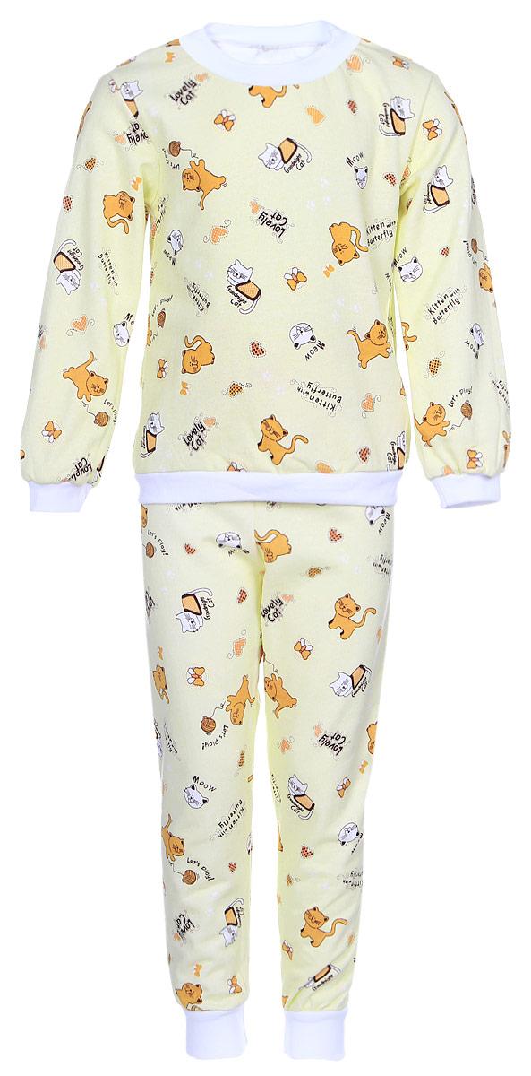 Пижама детская Фреш Стайл, цвет: светло-желтый. 21-5872. Размер 9221-5872Детская пижама Фреш Стайл выполнена из натурального хлопка. Изнаночная сторона изделия с мягким и теплым начесом. Футболка с длинными рукавами имеет круглый вырез горловины, оформленный трикотажной резинкой. На рукавах предусмотрены мягкие манжеты. Низ изделия дополнен широкой трикотажной резинкой.Брюки имеют эластичный пояс. Брючины дополнены манжетами.Пижама оформлена принтом.