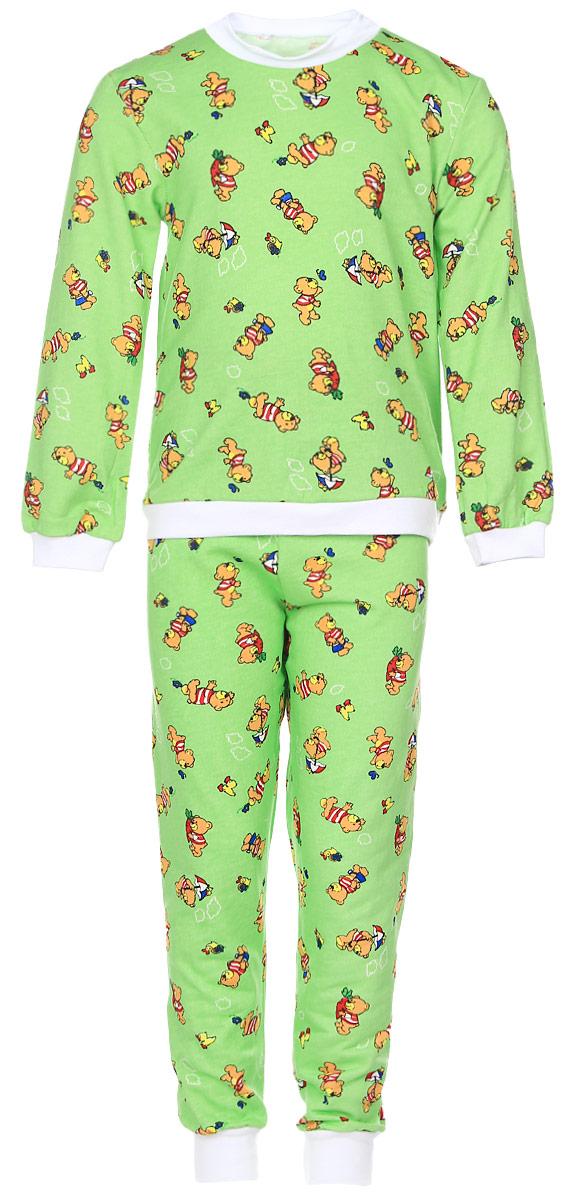 Пижама детская Фреш Стайл, цвет: зеленый. 21-5872. Размер 8621-5872Детская пижама Фреш Стайл выполнена из натурального хлопка. Изнаночная сторона изделия с мягким и теплым начесом. Футболка с длинными рукавами имеет круглый вырез горловины, оформленный трикотажной резинкой. На рукавах предусмотрены мягкие манжеты. Низ изделия дополнен широкой трикотажной резинкой.Брюки имеют эластичный пояс. Брючины дополнены манжетами.Пижама оформлена принтом.