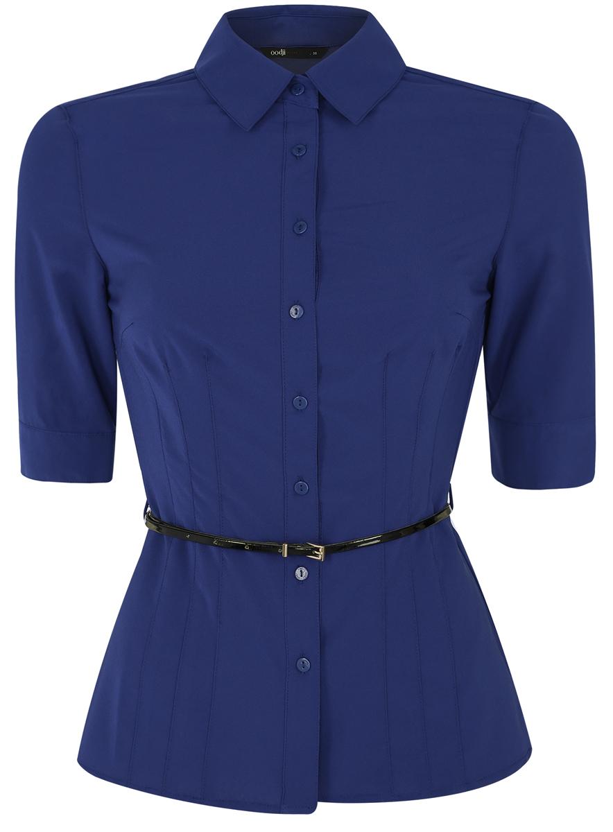 Блузка женская oodji Ultra, цвет: синий. 11410013-1B/19678/7500N. Размер 34 (40-170)
