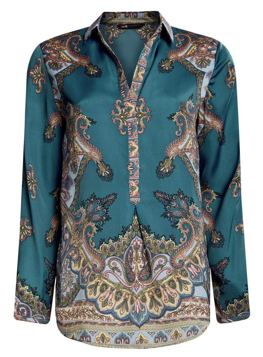 Блузка женская oodji Collection, цвет: темно-бирюзовый. 21411144-3/35542/7475E. Размер 36 (42-170) блузка oodji блузка