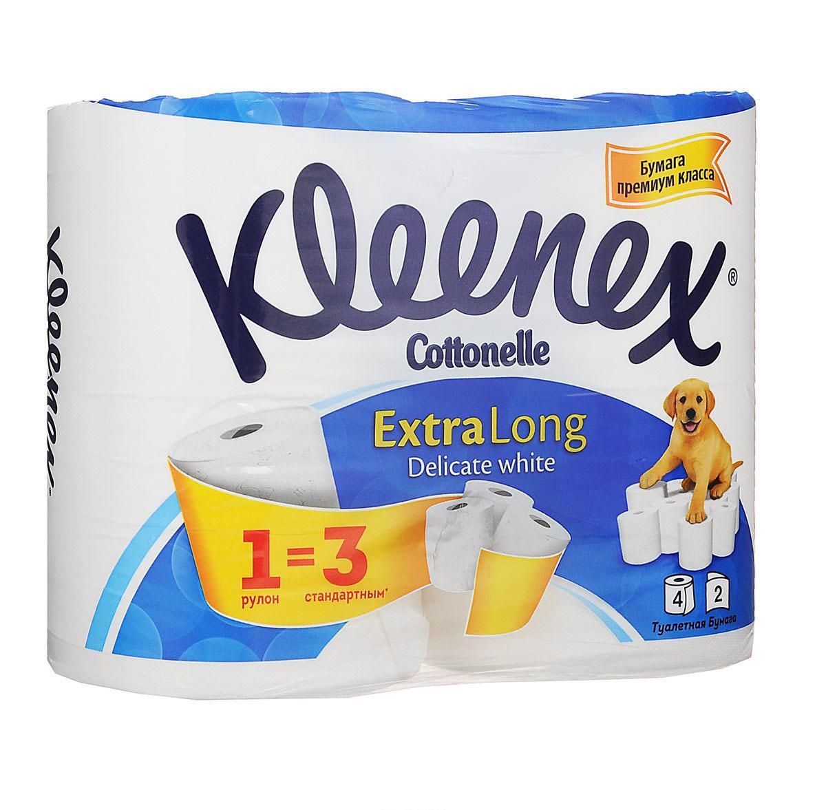 Kleenex Cottonelle Туалетная бумага Extra Long, двухслойная, цвет: белый, 4 рулона kleenex салфетки