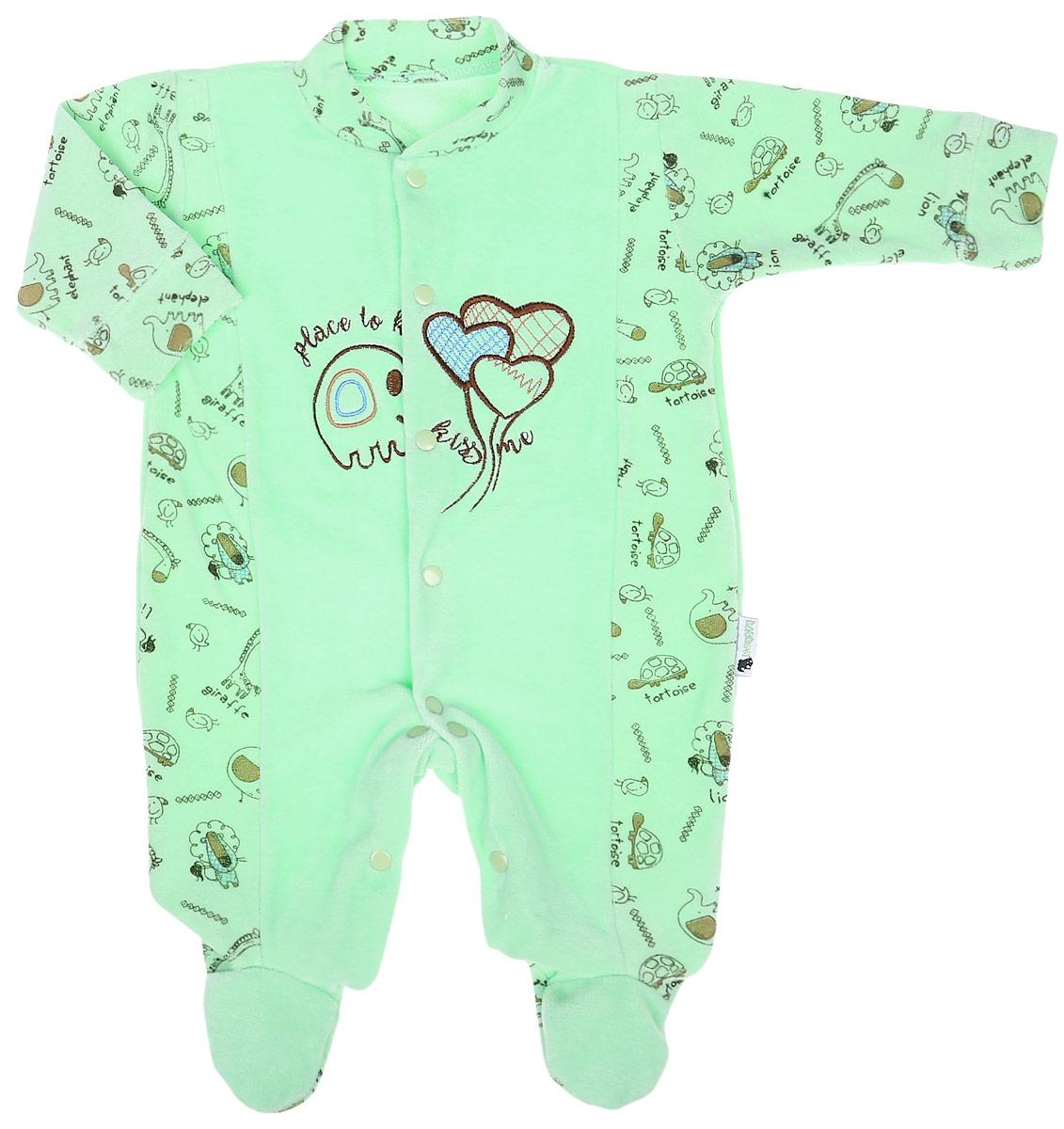 Комбинезон детский Клякса Слоник и шар, цвет: светло-зеленый. 55К-531. Размер 80 детский шар 5010 zorb ball