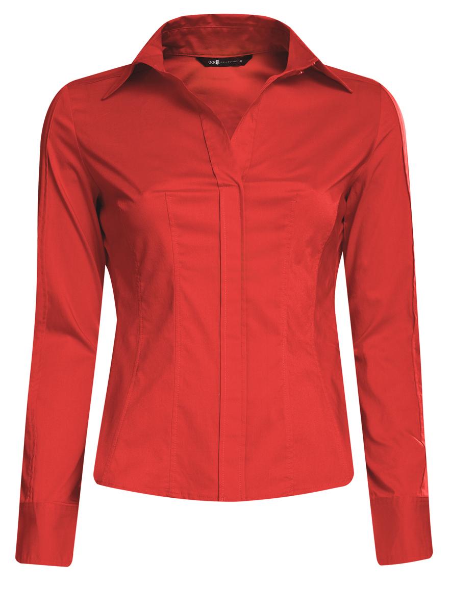 Блузка женская oodji Collection, цвет: красный. 21407048/42853/4500N. Размер 46 (52-170)