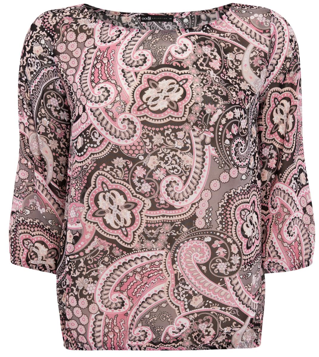 Блузка женская oodji Collection, цвет: серый, черный, розовый. 21404007/15018/2341E. Размер 44-170 (50-170) блузка женская oodji collection цвет серый черный розовый 21404007 15018 2341e размер 44 170 50 170