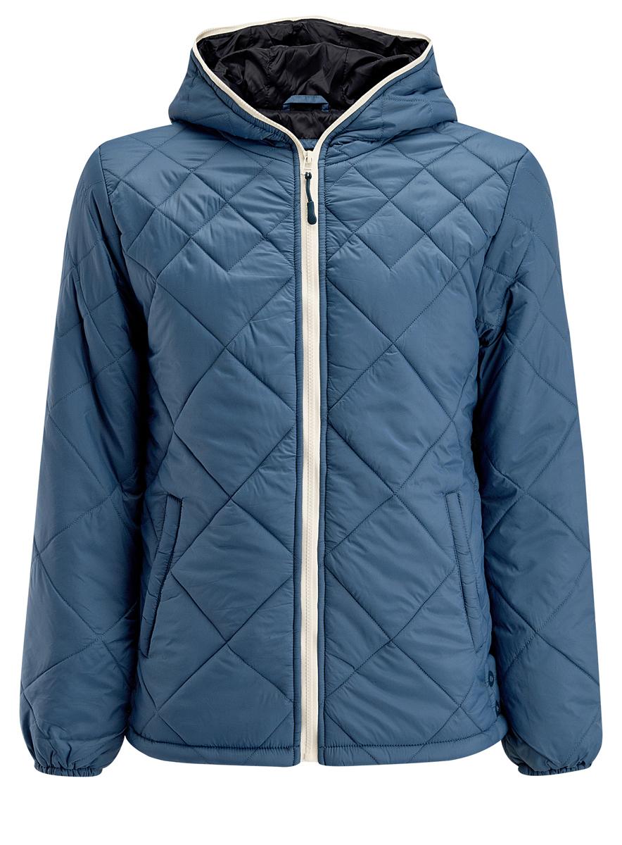 Куртка мужская oodji, цвет: серо-синий. 1L112013M/25855N/7400N. Размер XL (56-182)1L112013M/25855N/7400NМужская куртка oodji выполнена из полиамида. В качестве подкладки используется полиамид, а утеплителем служит 100% полиэстер. Модель с несъемным капюшоном застёгивается на застежку-молнию.Низ рукавов присобран на резинку. В боковых швах обработаны небольшие разрезы на кнопках. Спереди расположено два прорезных кармана на кнопках, а с внутренней стороны - прорезной карман на кнопке.