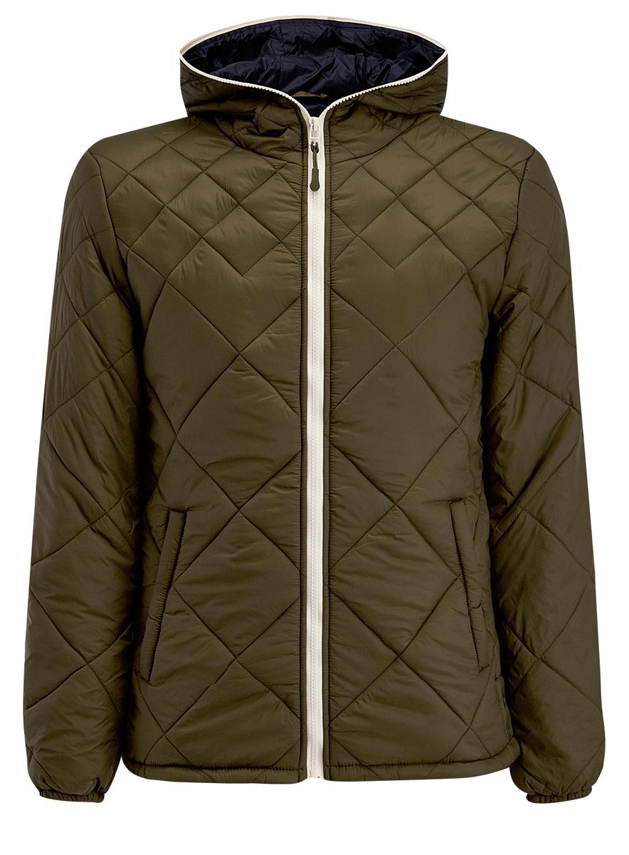 Куртка мужская oodji, цвет: хаки. 1L112013M/25855N/6600N. Размер L (52/54-182)1L112013M/25855N/6600NМужская куртка oodji выполнена из полиамида. В качестве подкладки используется полиамид, а утеплителем служит 100% полиэстер. Модель с несъемным капюшоном застёгивается на застежку-молнию.Низ рукавов присобран на резинку. В боковых швах обработаны небольшие разрезы на кнопках. Спереди расположено два прорезных кармана на кнопках, а с внутренней стороны - прорезной карман на кнопке.