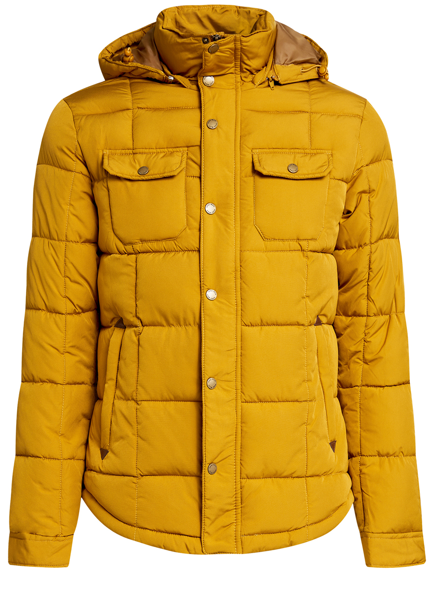 Куртка мужская oodji, цвет: горчичный. 1L112012M/39988N/5700N. Размер M (50-182)1L112012M/39988N/5700NМужская куртка oodji выполнена из полиэстера с добавлением полиамида. В качестве подкладки и утеплителя используется полиэстер. Модель с воротником-стойкой и съемным капюшоном застегивается на застежку-молнию и имеет ветрозащитную планку на кнопках. Капюшон дополнен эластичным шнурком-кулиской и пристегивается к изделию за счет застежки-молнии. Низ рукавов обработан манжетами на кнопках. Спереди расположено два прорезных кармана на застежках-молниях и два накладных кармана с клапанами на кнопках, а с внутренней стороны - прорезной карман на застежке-молнии.