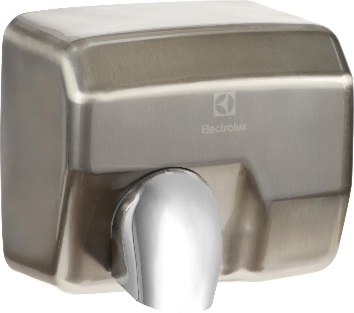 Electrolux 2500N/EHDA сушилка для рукEHDA/N – 2500В Сушилке для рук Electrolux 2500N/EHDA встроен чувствительный инфракрасный датчик, который срабатывает и включает прибор в тот момент, когда Вы подносите к нему руки. Данный тип включения позволяет быстро и гигиенично высушить руки, что особенно важно в общественных местах, больницах и офисах. Для повышения эффективности был разработан мотор, который создает скорость потока до 30 м/с, благодаря этому время сушки сведено к минимуму (10-15 сек). Модель EHDA/N – 2500, имеют функцию управления воздушным потоком. Конструкция сушилки позволяет отклонить направляющую потока в нужном Вам направлении. Воздуховыпускное отверстие защищено специальной защитной решеткой, выдерживающей высокие температуры и защищающей устройство от попадания посторонних предметов.