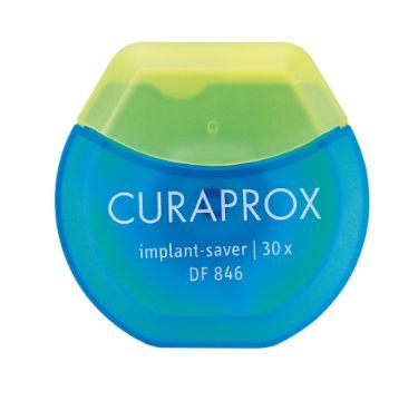 Curaprox DF 846 Нить implant межзубная эластичная из микроволокна, 30 нитей в упаковкеDF846Эластичный супер флосс из микроволокна implant saver особенно тщательно очищает критические области вокруг имплантов. Назначение: очищение десневой борозды вокруг импланта.Применение: