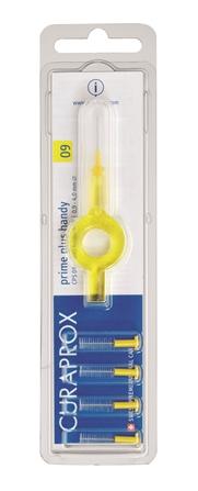Curaprox CPS 09 Prime PLUS Ершик межзубный 0,9 мм (5 шт), желтый + UHS 409 желтый держательCPS09 plus UHS409В набор входят 5 ёршиков для регулярной чистки межзубных промежутков и держатель UHS409. Состав: Сверхтонкие щетинки изготовлены из нейлона. Стержень ершика изготовлен из плетеной проволоки (хирургическая сталь), что обеспечивает его прочность.