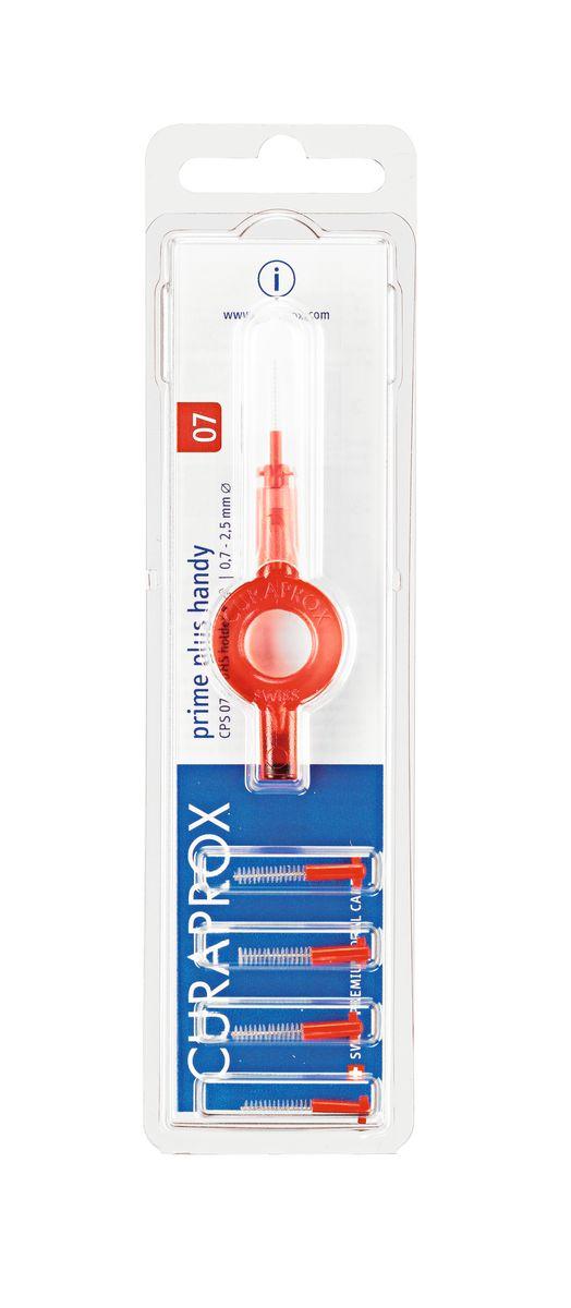 Curaprox CPS 07 Prime PLUS Ершик межзубный 0,7 мм (5 шт), красный + UHS 409 красный держатель curaprox гигиенический набор superduo щетка cs5460 3 ершика cps 06 07 08 держатель uhs 409 цвет синий