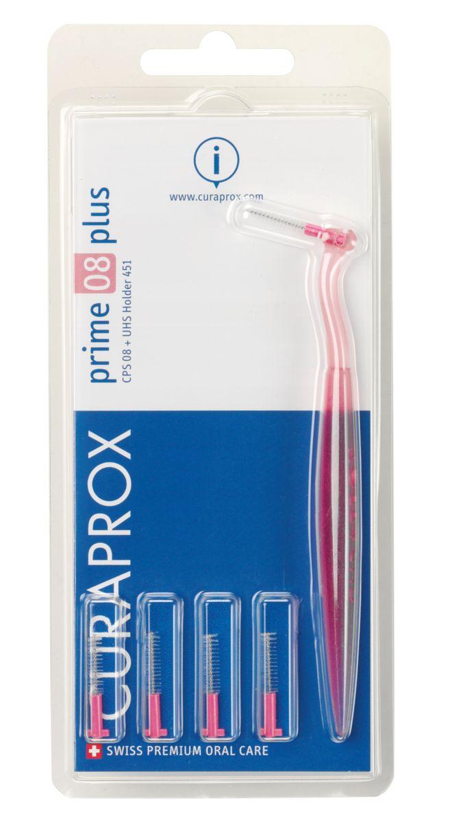 Curaprox CPS 08 Prime PLUS Ершик межзубный 0,8 мм (5 шт), розовый + UHS 451 розовый держательCPS08 plusВ набор входят 5 ёршиков для регулярной чистки межзубных промежутков и держатель UHS451. Состав: Сверхтонкие щетинки изготовлены из нейлона. Стержень ершика изготовлен из плетеной проволоки (хирургическая сталь), что обеспечивает его прочность.