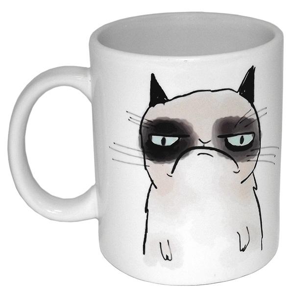 """Кружка Эврика """"Грустный кот"""" выполнена из белой качественной керамики и оформлена изображением печального кота. Изделие оснащено эргономичной ручкой. Кружка сочетает в себе оригинальный дизайн и функциональность."""