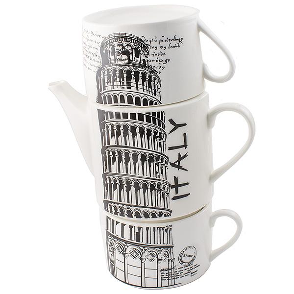 Чайник Эврика Италия, с 2 кружками97458Не каждый сразу догадается, что керамическая башня на вашей кухне на самом делепредставляет собой чайный сет. Чайник и две чашки, составленные пирамидкой,воспроизводят изображения знаменитых высоких достопримечательностей разных стран -башен, статуй, колоколен. Оригинальный дизайн и компактность - очевидные достоинстванабора. Объем чайника: 480 мл.Объем чашки: 180 мл.