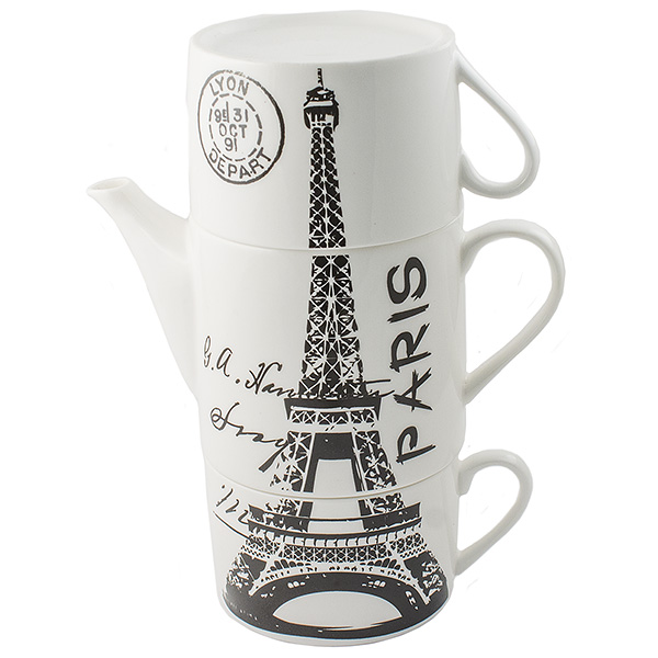 Чайник заварочный Эврика Париж, с двумя кружками, цвет: белый, черный97459Не каждый сразу догадается, что керамическая башня на вашей кухне на самом деле представляет собой чайный сет. Чайник и две чашки Эврика Париж, составленные пирамидкой, воспроизводят изображения знаменитых высоких достопримечательностей разных стран - башен, статуй, колоколен. Оригинальный дизайн и компактность - очевидные достоинства набора.Изделия выполнены из керамики.