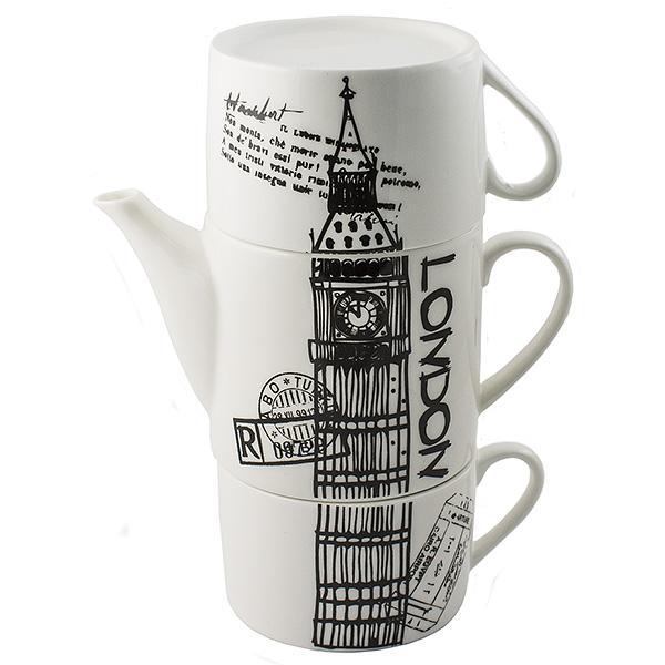 Чайник Эврика Лондон, с двумя кружками97460Необычный чайник Эврика Лондон выполнен из качественной керамики. Не каждый сразу догадается, что керамическая башня на вашей кухне на самом деле представляет собой чайный сет. Чайник и две чашки, составленные пирамидкой, воспроизводят изображения знаменитых высоких достопримечательностей разных стран - башен, статуй, колоколен. Оригинальный дизайн и компактность - очевидные достоинства набора.