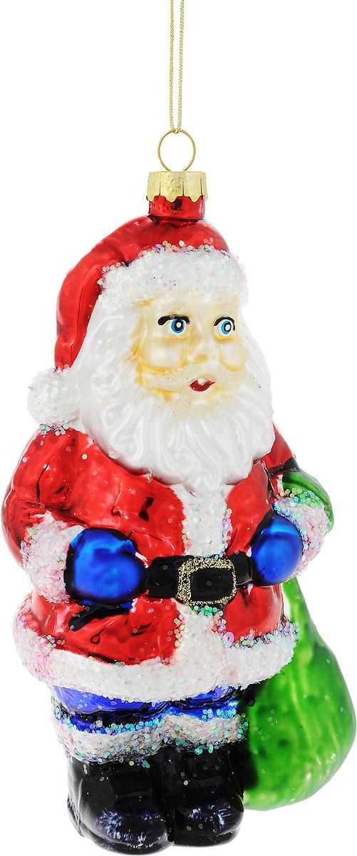 Украшение новогоднее подвесное Winter Wings Дед Мороз с подарком, высота 15,5 смN07339Новогоднее украшение Winter Wings Дед Мороз с подарком отлично подойдет для декорации вашего дома и новогодней ели. Изделие, выполненное из стекла, декорировано блестками и оснащено специальной петелькой для подвешивания.Елочная игрушка - символ Нового года. Она несет в себе волшебство и красоту праздника. Создайте в своем доме атмосферу веселья и радости, украшая всей семьей новогоднюю елку нарядными игрушками, которые будут из года в год накапливать теплоту воспоминаний.