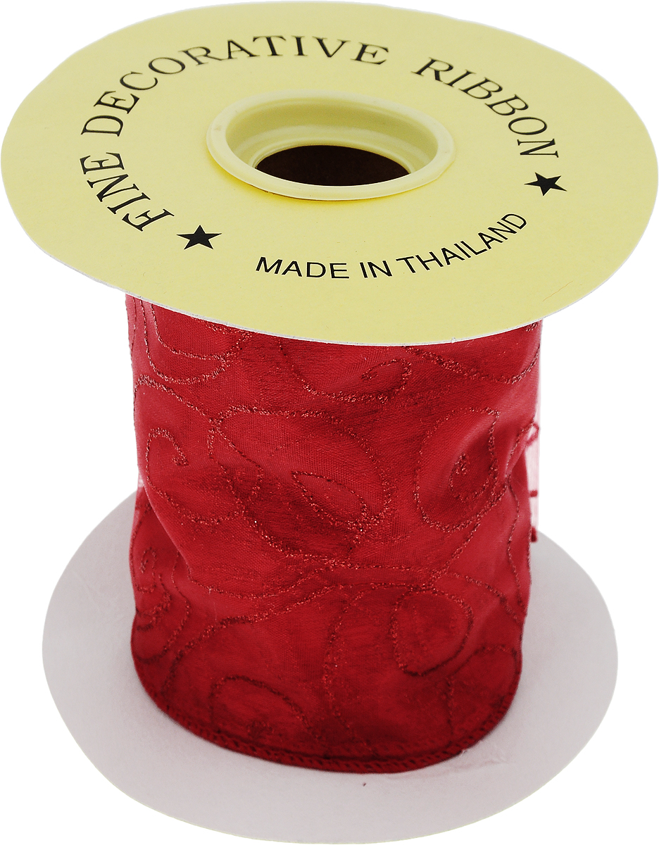 Лента новогодняя Winter Wings, цвет: красный, 10 см х 4,5 м. 14056 лента декоративная prym клетка цвет белый черный 15 мм 3 м