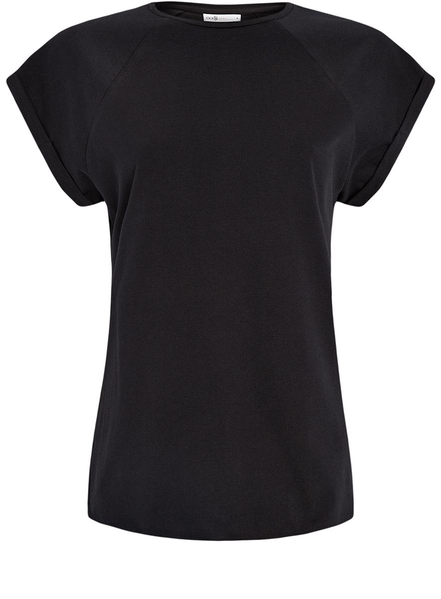 Футболка женская oodji Ultra, цвет: черный. 14707001-4B/46154/2900N. Размер M (46)14707001-4B/46154/2900NЖенская футболка выполнена из хлопка. Модель с круглым вырезом горловины и короткими рукавами реглан, дополненными отворотом.