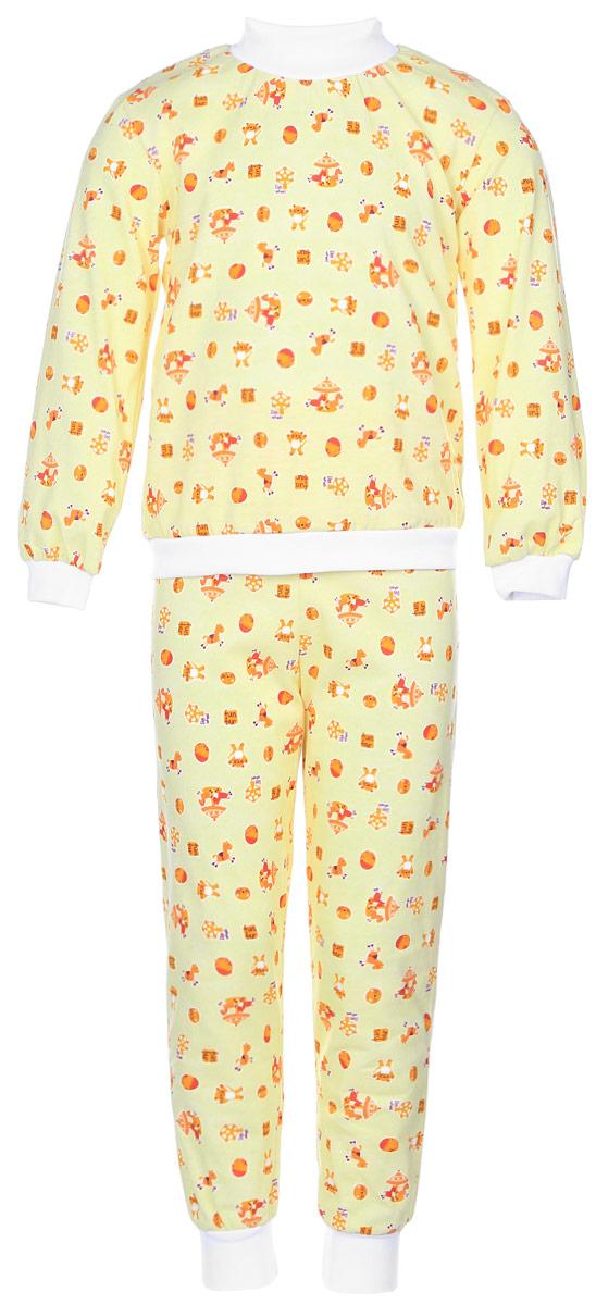 Пижама детская Фреш Стайл, цвет: желтый. 10-5872. Размер 8610-5872Уютная детская пижама Фреш Стайл выполнена из натурального хлопка.Футболка с длинными рукавами имеет круглый вырез горловины, оформленный трикотажной резинкой. На рукавах предусмотрены мягкие манжеты. Низ изделия дополнен широкой трикотажной резинкой.Брюки имеют эластичный пояс. Брючины дополнены манжетами.Пижама оформлена принтом.