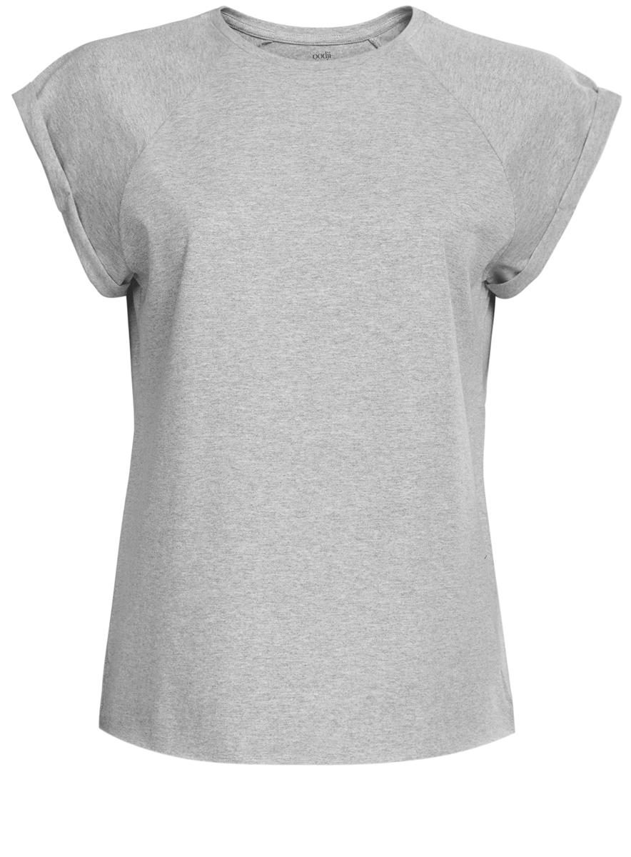 Футболка женская oodji Ultra, цвет: серый. 14707001-4B/46154/2000M. Размер XL (50)14707001-4B/46154/2000MЖенская футболка выполнена из хлопка. Модель с круглым вырезом горловины и короткими рукавами реглан, дополненными отворотом.