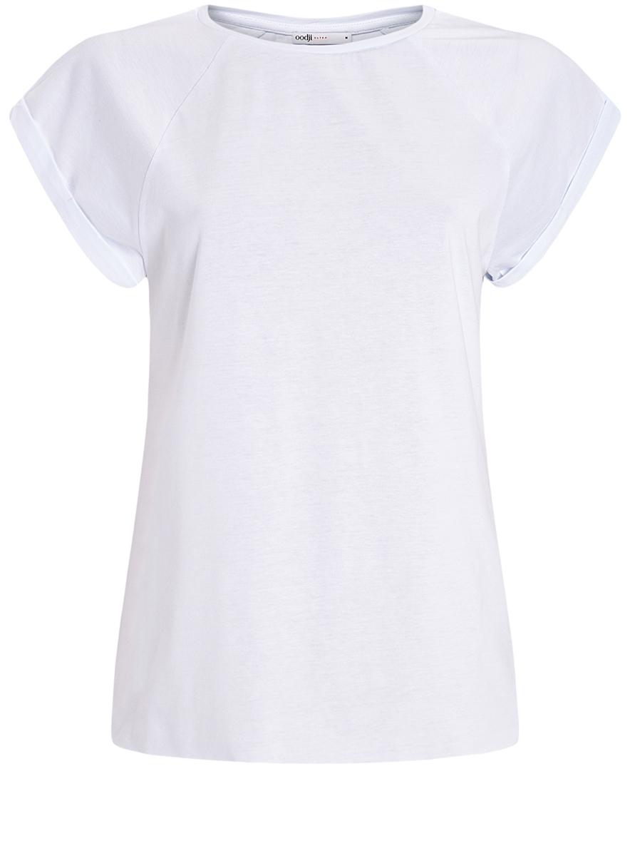 Футболка женская oodji Ultra, цвет: белый. 14707001-4B/46154/1000N. Размер S (44)14707001-4B/46154/1000NЖенская футболка выполнена из хлопка. Модель с круглым вырезом горловины и короткими рукавами реглан, дополненными отворотом.