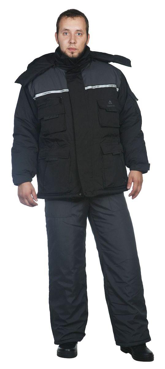 Куртка рыболовная мужская Skanson Кайман, цвет: серый, черный. 5412. Размер 48/50, 182-188 см5412Куртка + жилет зимние- капюшон с регулировкой по высоте лицевой части резиновым шнуром пристегивается на молнию; - центральная застежка куртки на двухзамковую фронтальную молнию, закрыта ветрозащитной планкой на кнопках и липучках; - воротник-стойка комбинированный с флисом;- СОП на полочках и спинке, на капюшоне; - низ куртки и линия талия с регулировкой по ширине резиновым шнуром; - низ рукавов на манжетах с резиновой тесьмой и регулировочной патой с липучкой; - жилет пристегивается на молнию;- низ жилета с регулировкой объема резиновым шнуром; - количество карманов – 10