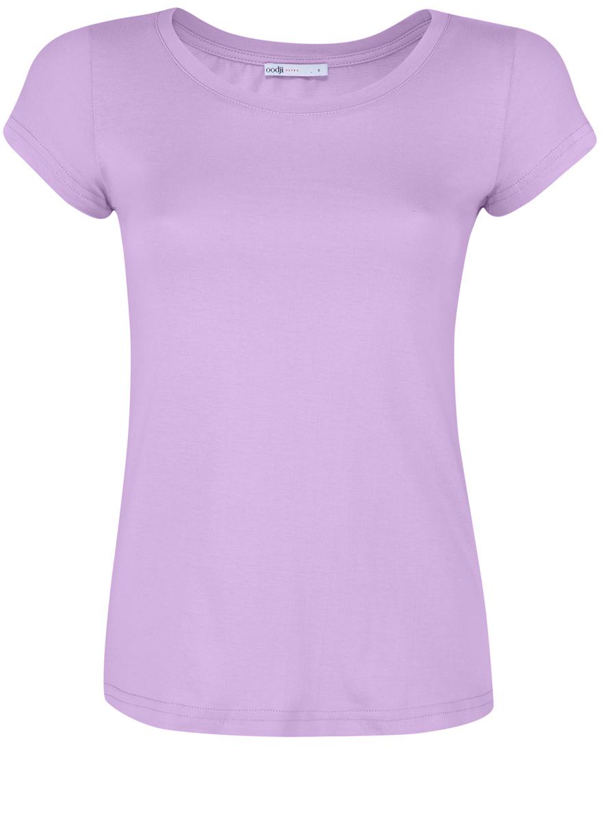 Футболка женская oodji Ultra, цвет: сиреневый. 14701008B/46154/8000N. Размер XS (42) пуловеры oodji пуловер