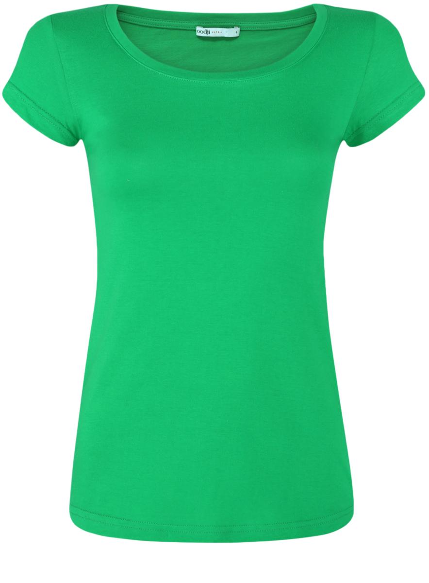 Футболка женская oodji Ultra, цвет: зеленый. 14701008B/46154/6A00N. Размер M (46) футболка женская oodji ultra цвет зеленый 2 шт 14701008t2 46154 6a00n размер s 44