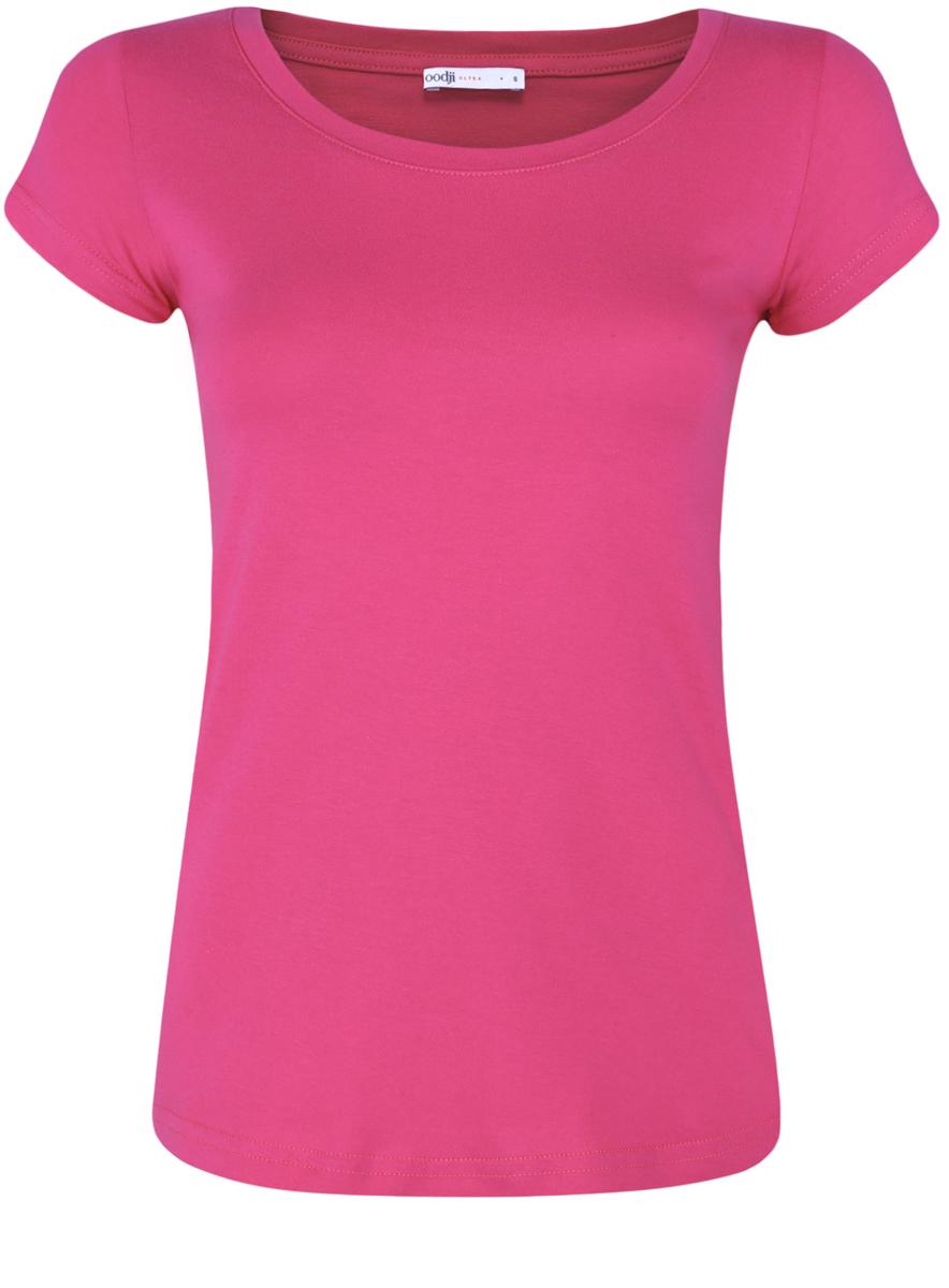 Футболка женская oodji Ultra, цвет: фуксия. 14701008B/46154/4700N. Размер XL (50) футболка женская oodji ultra цвет бледно желтый 14701046 10577 5000n размер xl 50