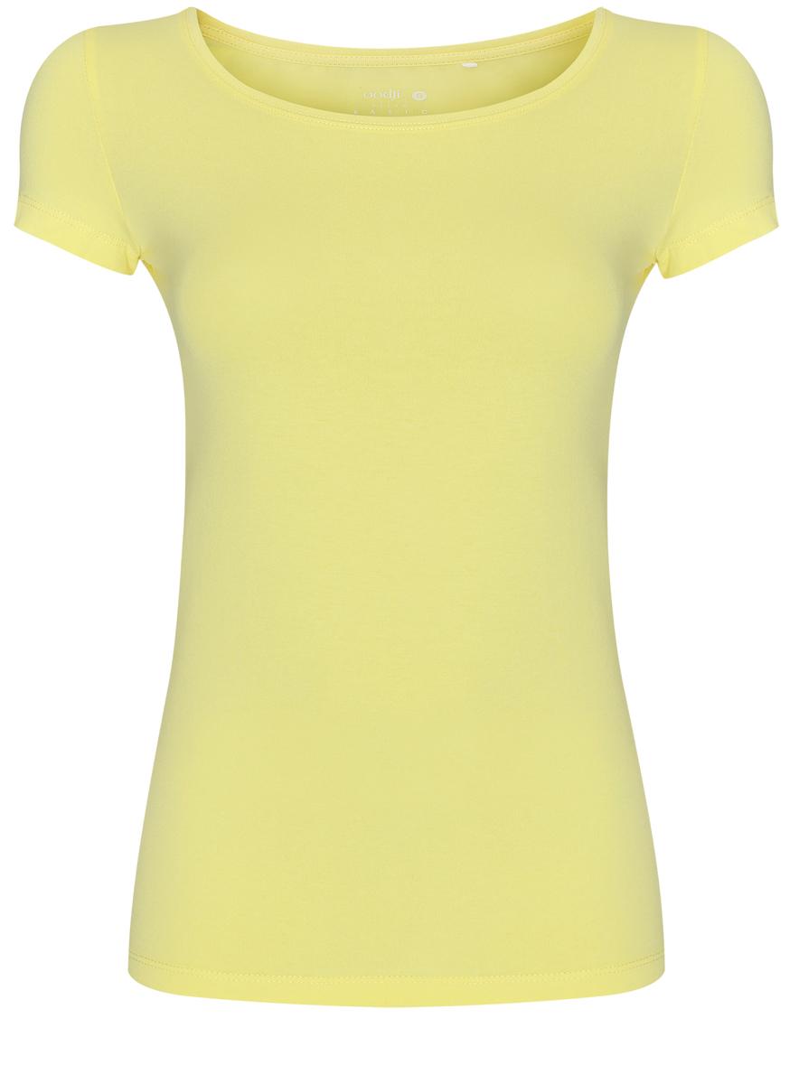Футболка женская oodji Ultra, цвет: желтый. 14701005-7B/46147/6700N. Размер S (44)14701005-7B/46147/6700NСтильная женская футболка oodji Ultra, выполненная из хлопка с небольшим добавлением полиуретана, отлично дополнит ваш гардероб. Модель с круглым вырезом горловины и короткими рукавами.