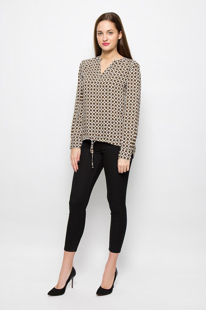 Блузка женская Marc O'Polo, цвет: белый, коричневый. 087142723/G67. Размер 38 (44) marc cain блузка