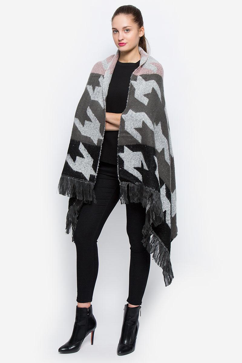 Пончо женское Glamorous, цвет: серый, коричневый, светло-розовый. KA5177. Размер 42/48 glamorous gl008ewhnj90