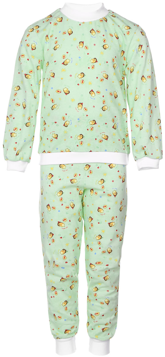 Пижама детская Фреш Стайл, цвет: светло-зеленый. 10-5872. Размер 11010-5872Уютная детская пижама Фреш Стайл выполнена из натурального хлопка.Футболка с длинными рукавами имеет круглый вырез горловины, оформленный трикотажной резинкой. На рукавах предусмотрены мягкие манжеты. Низ изделия дополнен широкой трикотажной резинкой.Брюки имеют эластичный пояс. Брючины дополнены манжетами.Пижама оформлена принтом.