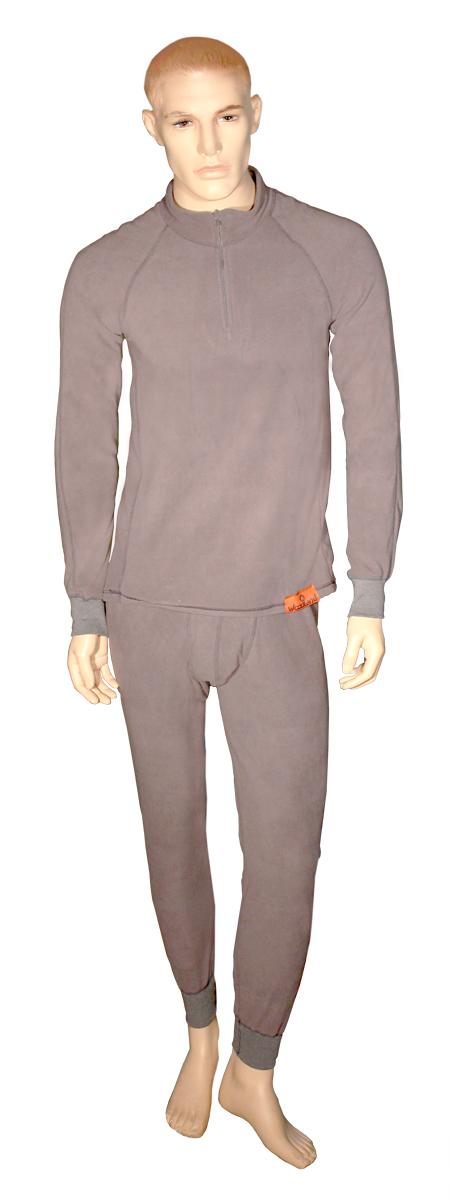 Комплект термобелья Woodland ThermoLine ZIP: брюки, кофта, цвет: серый. 57396. Размер L (48/50)ThermoLine ZIPКомплект термобелья Woodland ThermoLine изготавливается из качественного полиэстера. Может использоваться как одежда первого слоя (термобельё), так и как утепляющий флисовый второй слой с другими моделями термобелья Woodland. Материал изделия эластичный, легко тянется. Элементы кроя соединяются плоскими швами, которые при натяжении и под давлением не врезаются в кожу, не вызывают потертостей и ссадин. Комплект термобелья Woodland ThermoLine подходит для активного отдыха в зимний период, для повседневного ношения и длительного пребывания на открытом воздухе в холодном климате. Комплект термобелья Woodland ThermoLine комфортен в использовании, при продолжительном ношении не вызывает зуда. Материал изделия отводит влагу от тела и согревает. При намокании не теряет способности удерживать тепло, быстро сохнет на теле. Спереди от горловины до середины груди разрез, который застегивается на молнию. Температурные показатели: при низкой физической активности - до минус 20 градусов, при высокой физической активности - до минус 30 градусов.