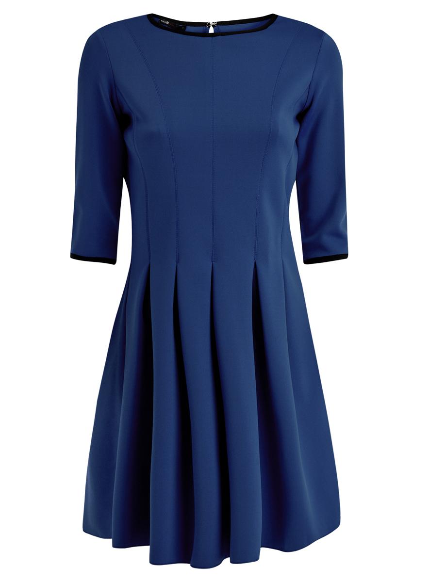 Платье oodji Ultra, цвет: синий. 14001148/33735/7500N. Размер XXS (40)14001148/33735/7500NМодное платье oodji Ultra станет отличным дополнением к вашему гардеробу. Модель выполнена из качественного полиэстера с добавлением эластана.Платье-миди с круглым вырезом горловины и рукавами длинной 3/4 застегивается сзади по спинке на металлический крючок. От линии талии модель дополнена складками, которые придают объем и пышность.