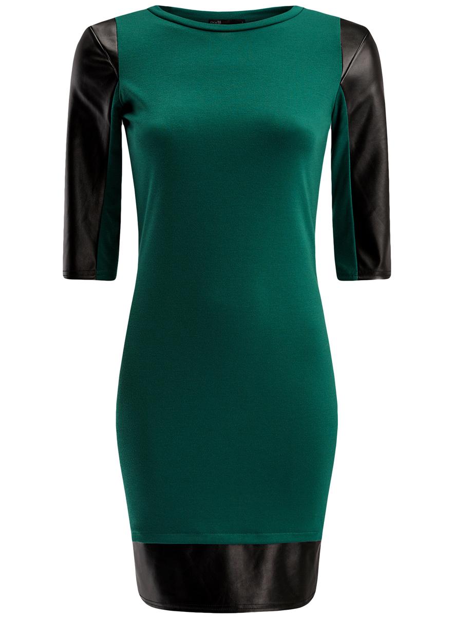 Платье oodji Ultra, цвет: зеленый, черный. 14001143-2/16564/6E29B. Размер XS (42)14001143-2/16564/6E29BСтильное платье oodji Ultra выполнено из полиэстера с добавлением вискозы и полиуретана. Модель-миди с круглым вырезом горловины и рукавами 3/4 оформлена вставками из искусственной кожи.