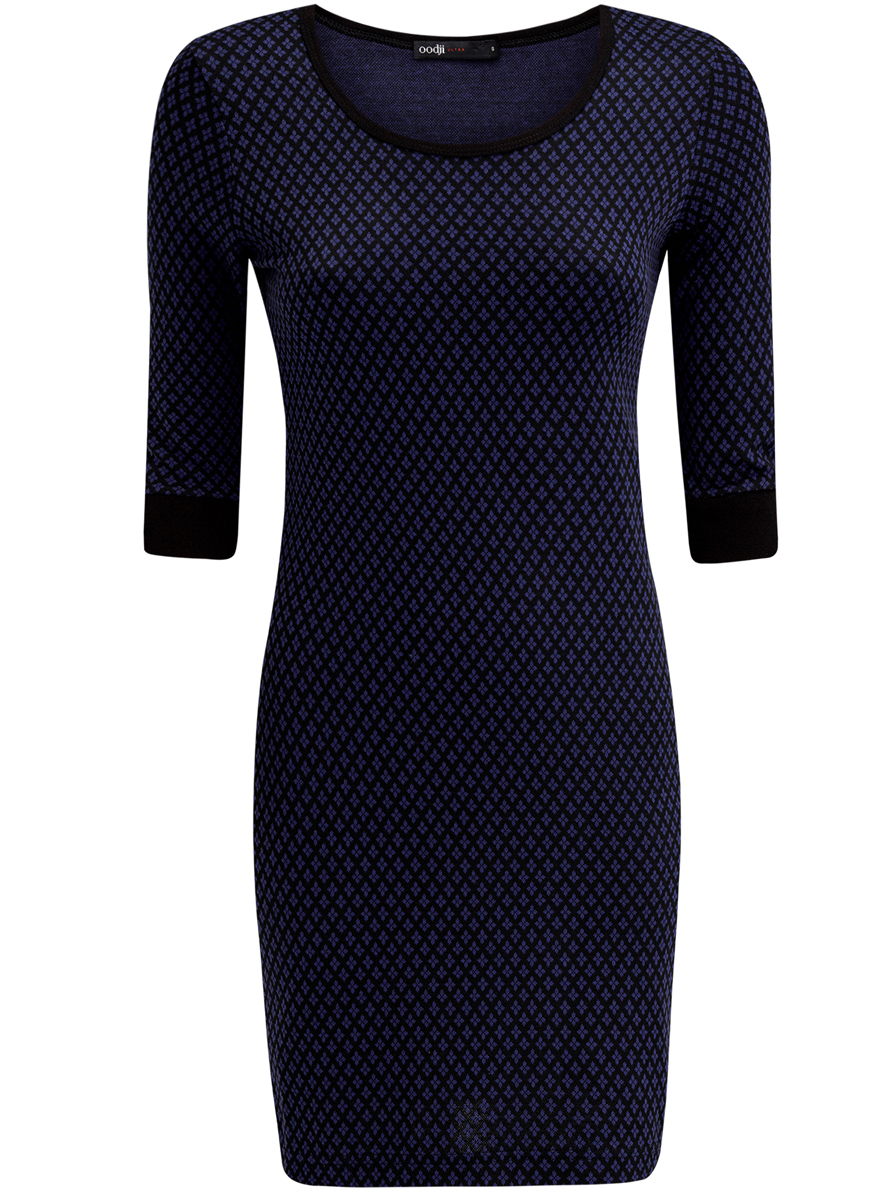 Платье oodji Ultra, цвет: синий, черный. 14001064-6/35468/2975J. Размер L (48)14001064-6/35468/2975JПлатье oodji Ultra выполнено из полиэстера с добавлением эластана. Модель с круглым вырезом горловины и рукавами 3/4 оформлена оригинальным принтом.