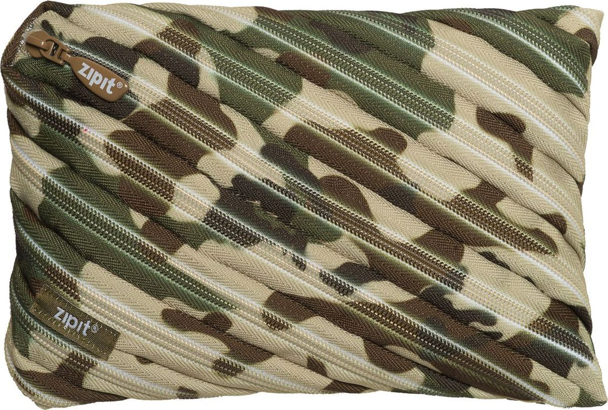 Zipit Пенал Camo Jumbo Pouch цвет серый зеленый коричневыйZTJ-CG-GNСтильный пенал Zipit Camo Jumbo Pouch изготовлен из одной длинной застежки-молнии и оформлен камуфляжным принтом. Он удобен для разных мелочей и пишущих принадлежностей.