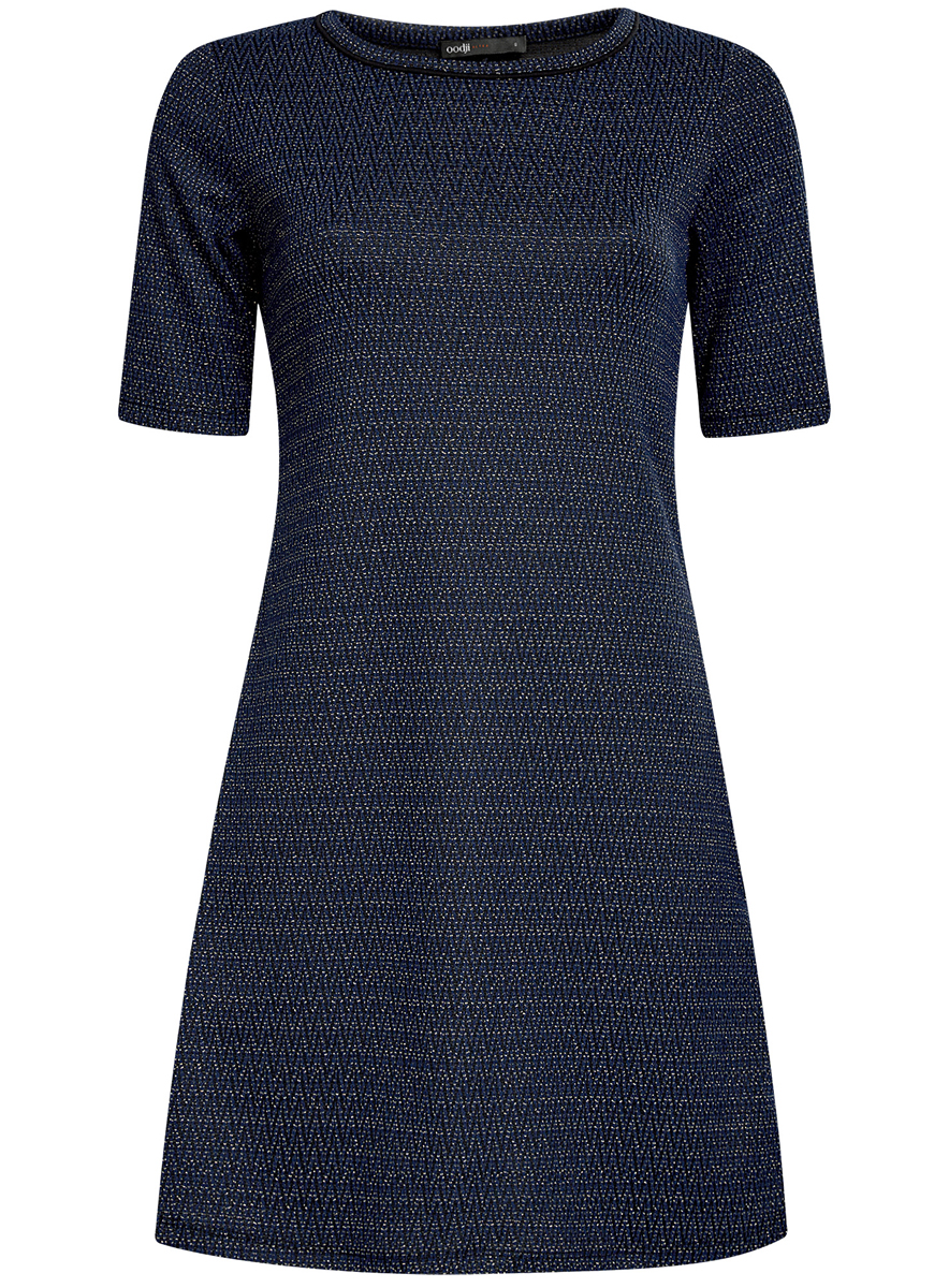 Платье oodji Ultra, цвет: темно-синий, черный. 14000158/46233/7929J. Размер XXS (40)14000158/46233/7929JСтильное платье oodji Ultra, выполненное из качественного комбинированного материала, отлично дополнит ваш гардероб. Модель-миди с круглым вырезом горловины и короткими рукавами оформлено контрастным принтом и дополнено люрексом.