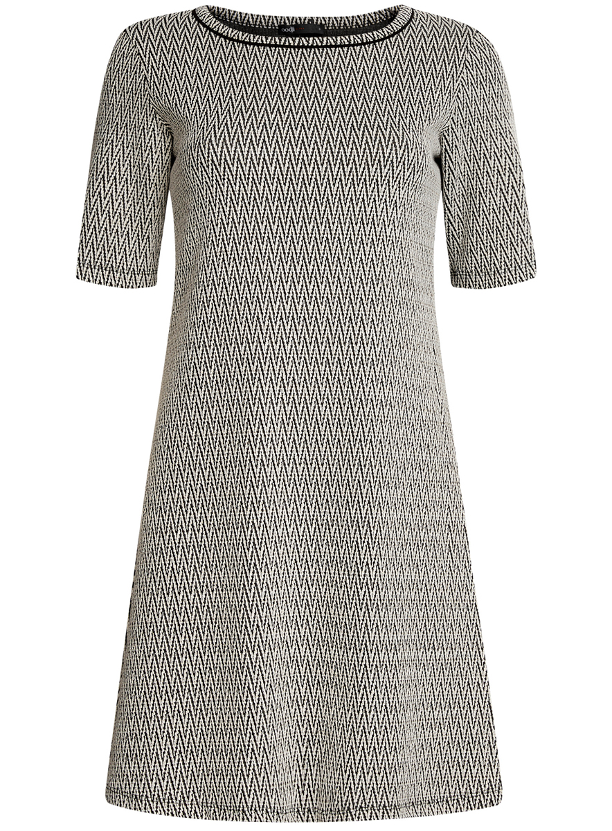 Платье oodji Ultra, цвет: молочный, черный. 14000158/45992/3329J. Размер XXS (40)14000158/45992/3329JСтильное платье oodji Ultra, выполненное из качественного комбинированного материала, отлично дополнит ваш гардероб. Модель-миди с круглым вырезом горловины и короткими рукавами оформлено контрастным принтом и дополнено люрексом.